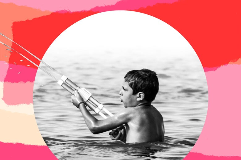 Collage of a boy playing with a water gun in the water.