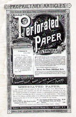 Albany Perforated Toilet Paper, 1896. Click image to expand.