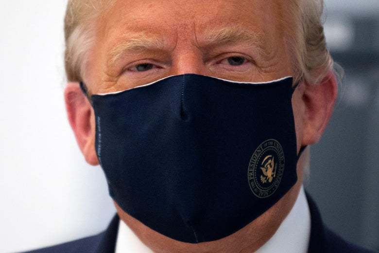 Donald Trump wearing a mask.
