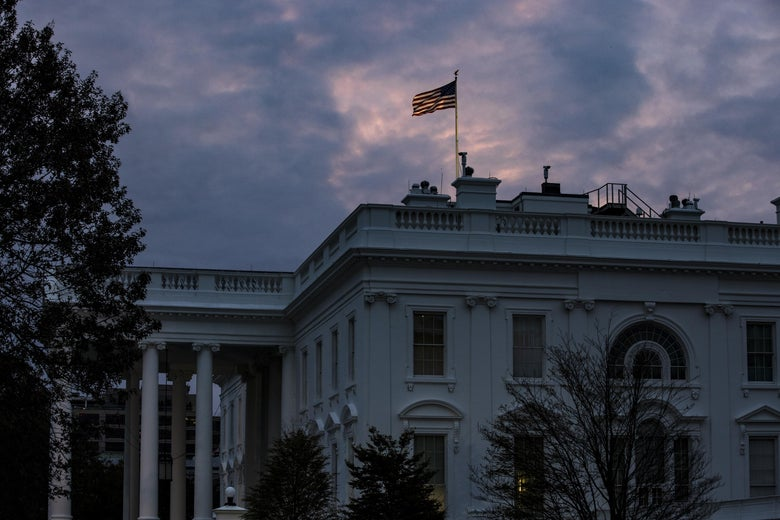 The sun rises over the White House on November 1, 2020 in Washington, D.C.