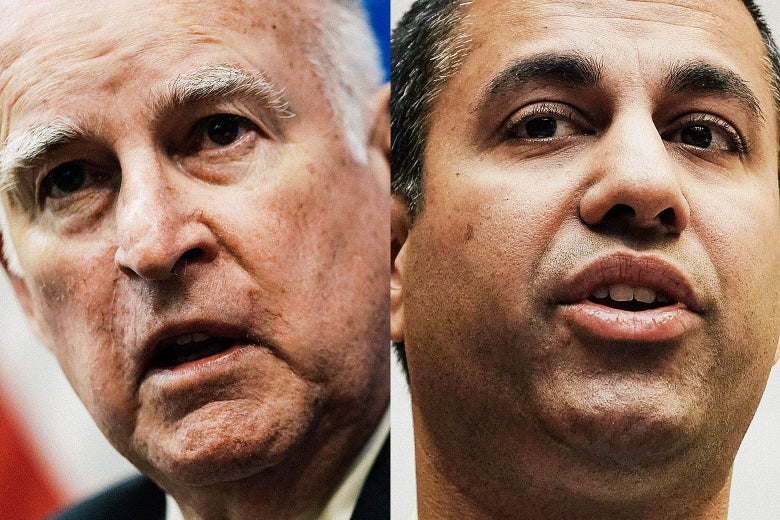 Jerry Brown and Ajit Pai.