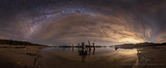 Milky Way arcing over Theewaterskloof dam in South Africa.