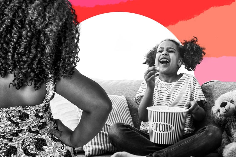 Photo illustration of a girl laughing while eating popcorn on the couch while an older girl looks on disapprovingly.