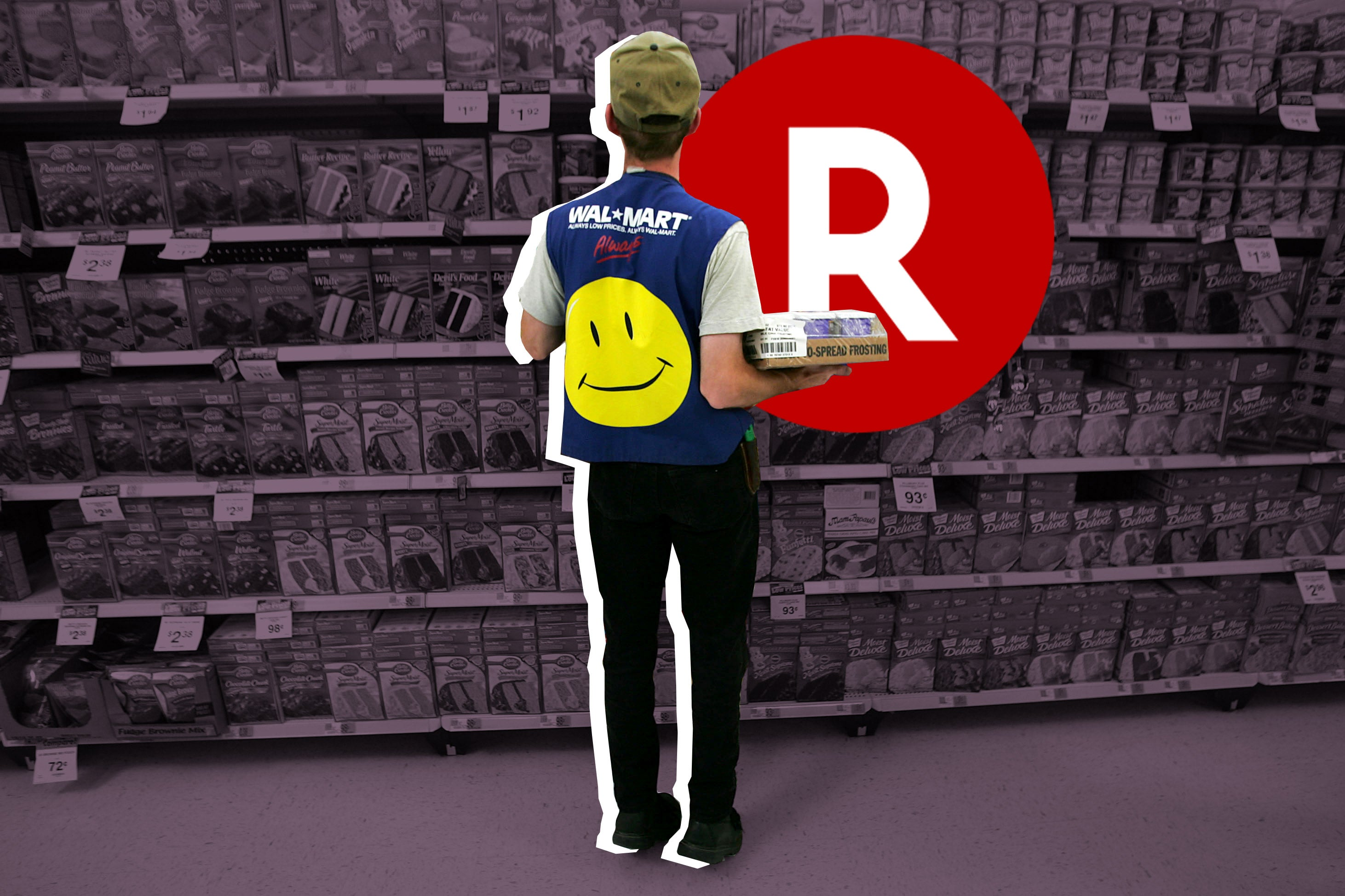 An illustration in which an employee restocks a shelf of a Walmart Supercenter beneath the Rakuten logo.