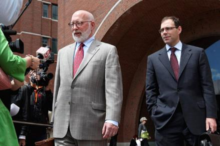 J.W. Carney, left, and Hank Brennan, both attorneys for Bulger, spoke to reporters after the opening day of the trial.