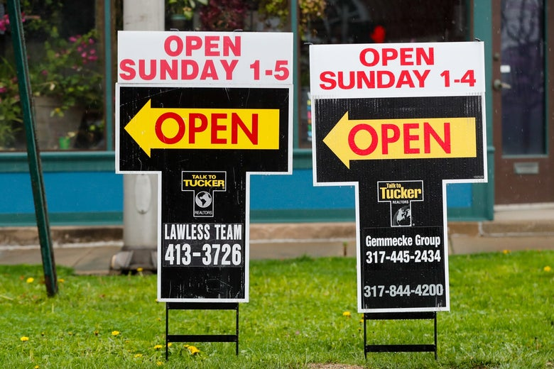 Real estate open house signs in Indianapolis.