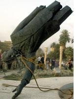 Toppled statue of Saddam Hussein in Baghdad. Click image to expand.