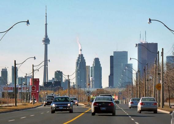 Lake Shore Boulevard East, east of Leslie Street, looking west. - Toronto, Ontario, Canada.