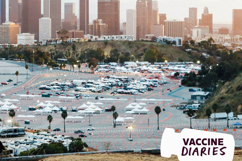 """A stadium with tents and cars, with a vial-shaped tag that reads """"Vaccine Diaries"""""""