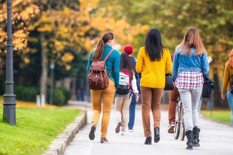 A group of young women walk away down a path on a college campus.