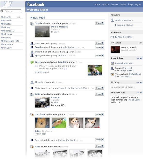 What Mark Zuckerberg's News Feed looked like in 2006.