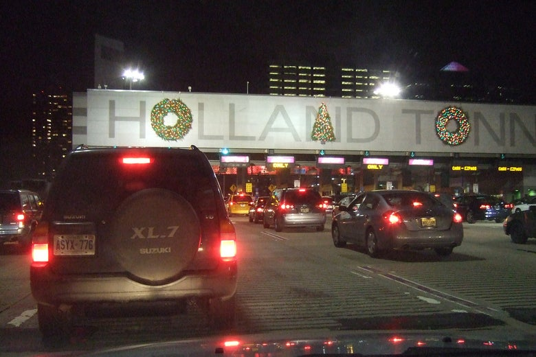The Christmas decorations over the entrance to the Holland Tunnel in Jersey City, New Jersey.