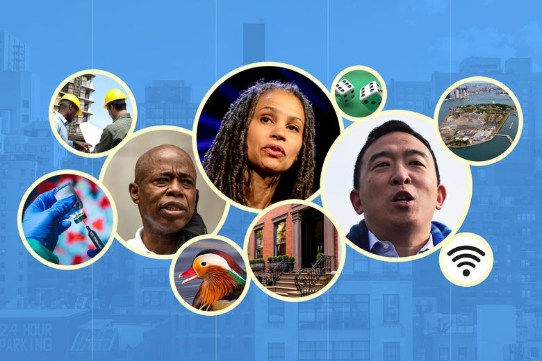 New York City collage featuring Eric Adams, Maya Wiley, Andrew Yang, construction workers, a duck, a vaccine, a brownstone, dice, a Wi-Fi symbol, and an island, all in bubbles on a background of city high-rises