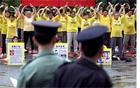 Falun Gong members at protest in Hong Kong