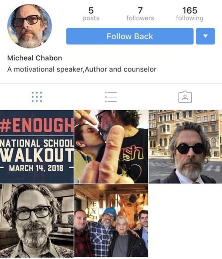 Screen capture from fake Micheal Chabon account.