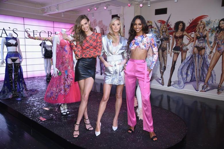 three models in a Victoria's Secret