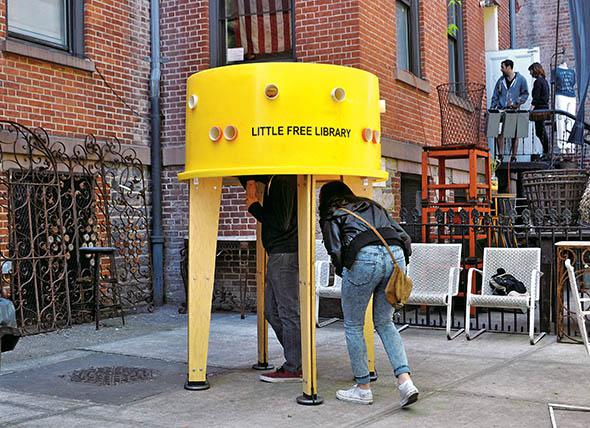 A Little Free Library designed by Stereotank and errected outsid
