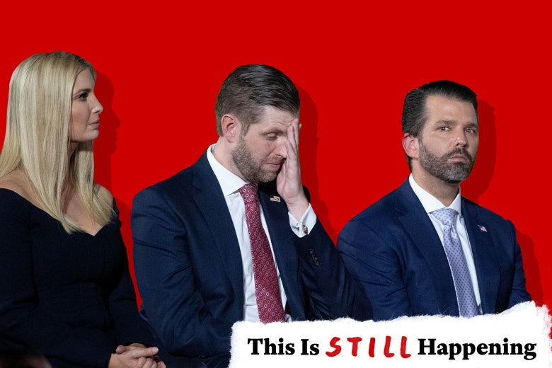 Ivanka Trump, Eric Trump with his hand to his face, and Donald Trump Jr.