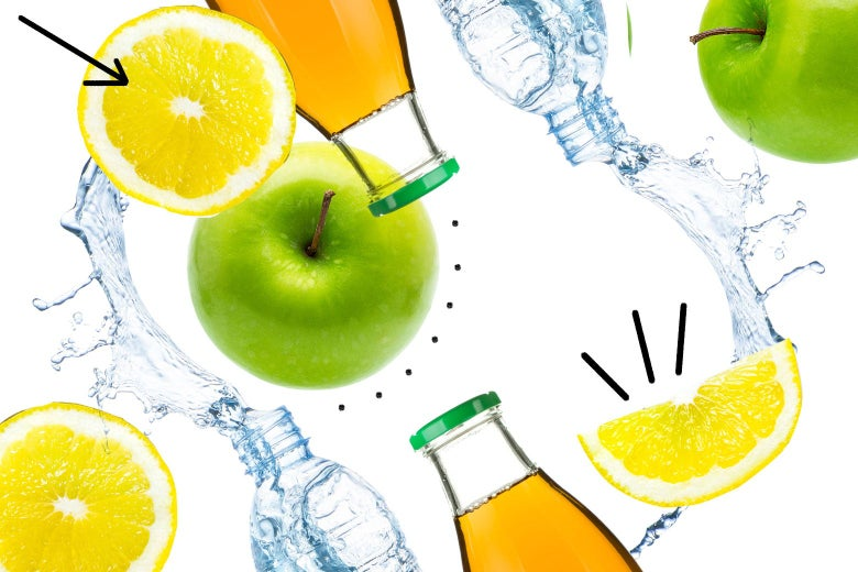 Apples, lemons, water, and apple juice.