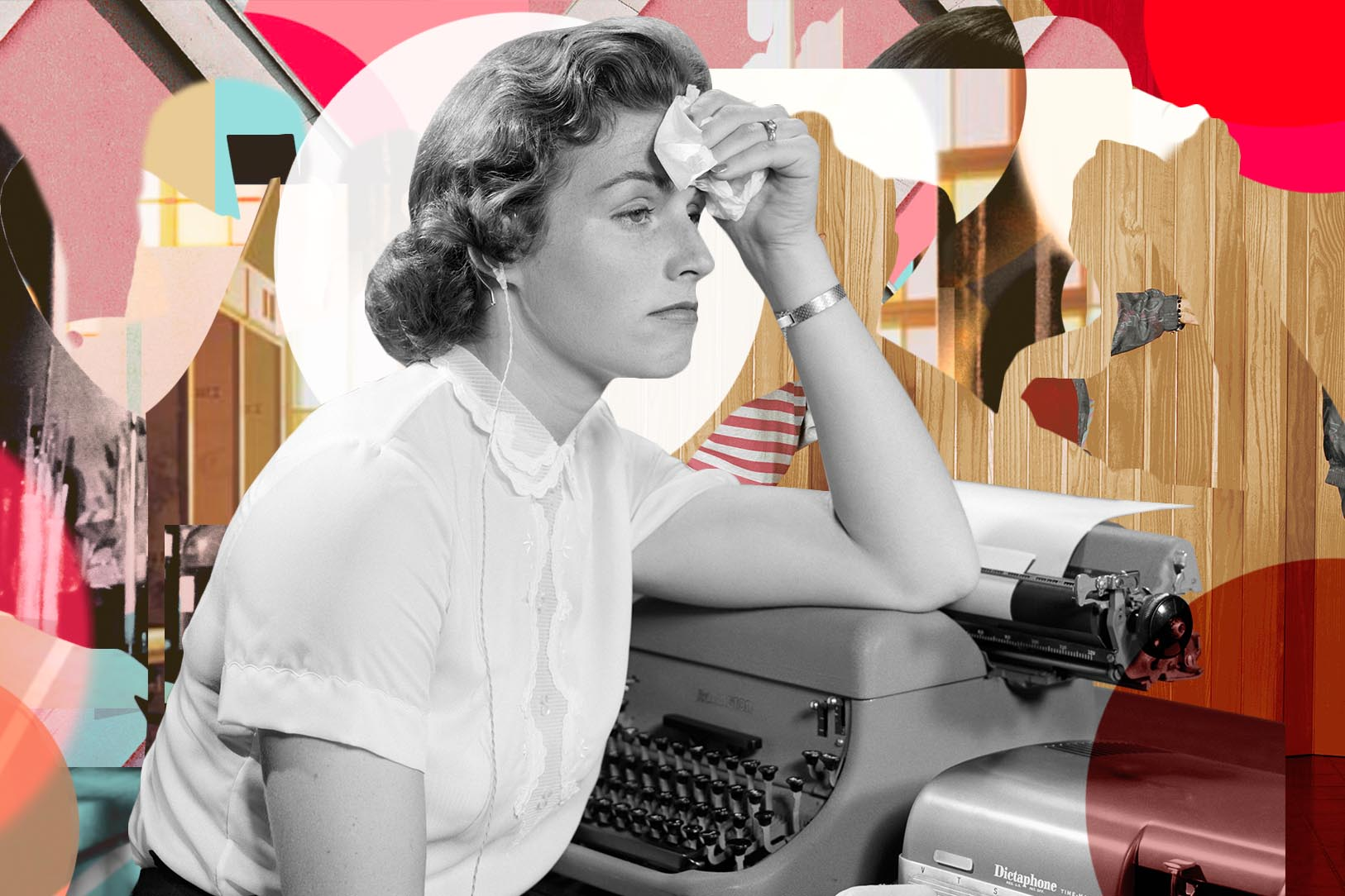 Exasperated female office worker sitting at typewriter.