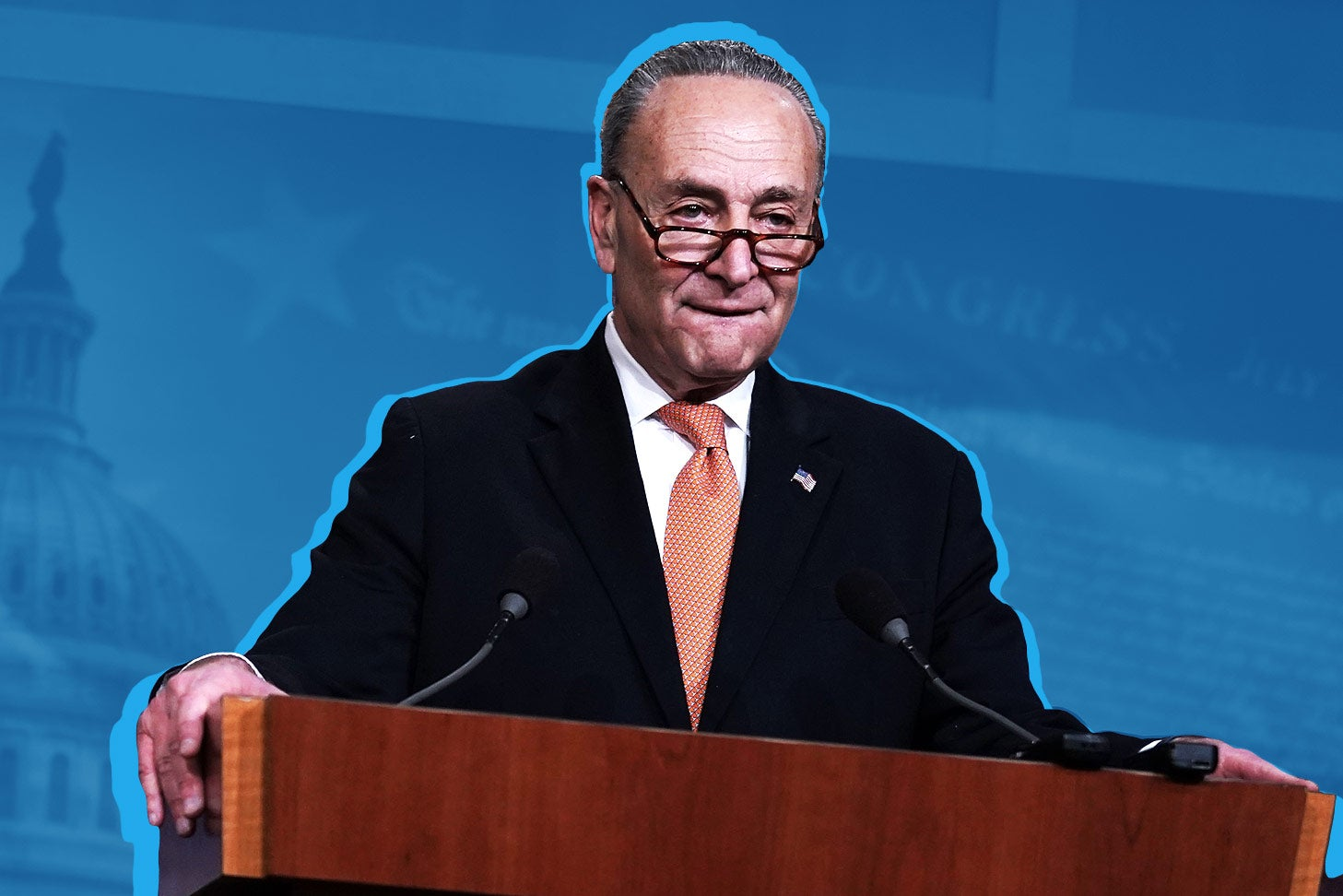 U.S. Senate Minority Leader Sen. Chuck Schumer speaks during a news conference on Saturday in Washington.