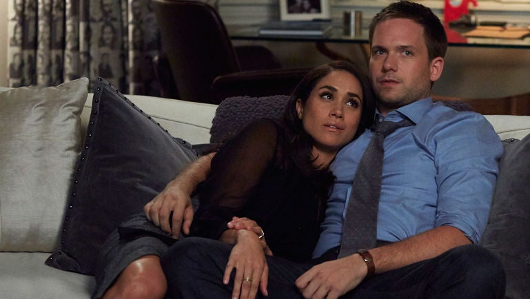 Meghan Markle and Patrick J. Adams as Rachel and Mike in Suits.