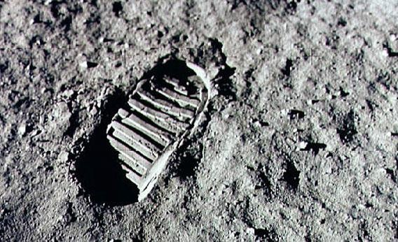 Neil Armstrong footprint on the moon.