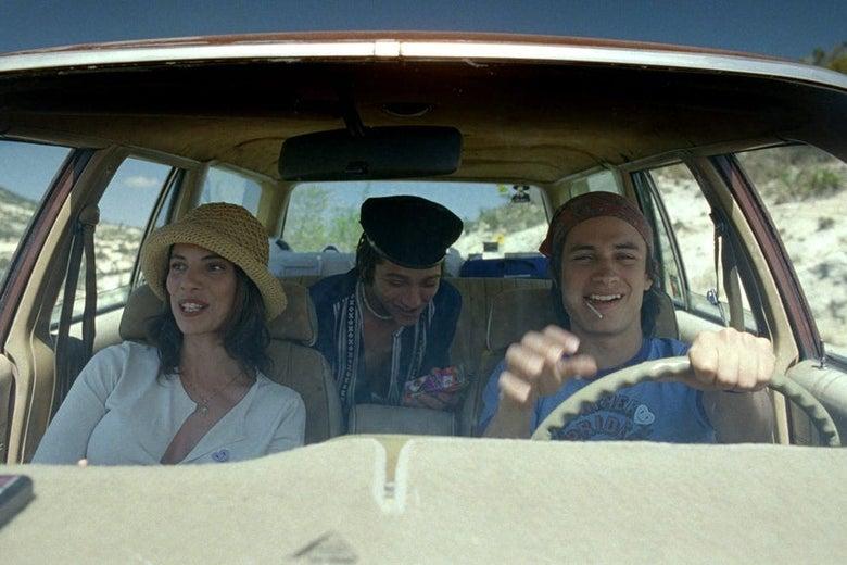 Maribel Verdú, Gael García Bernal, and Diego Luna in a car.