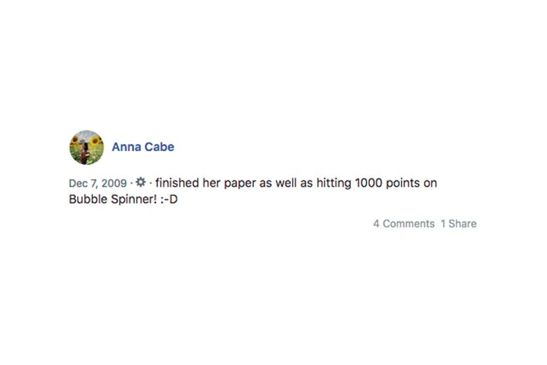 "Screenshot of author's Facebook post that reads ""finished her paper as well as hitting 1000 points on Bubble Spinner"""