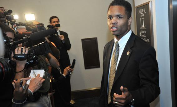 US Rep. Jesse Jackson, Jr. speaks to reporters following a Democratic Caucus on August 1, 2011 at the US Capitol in Washington, DC.