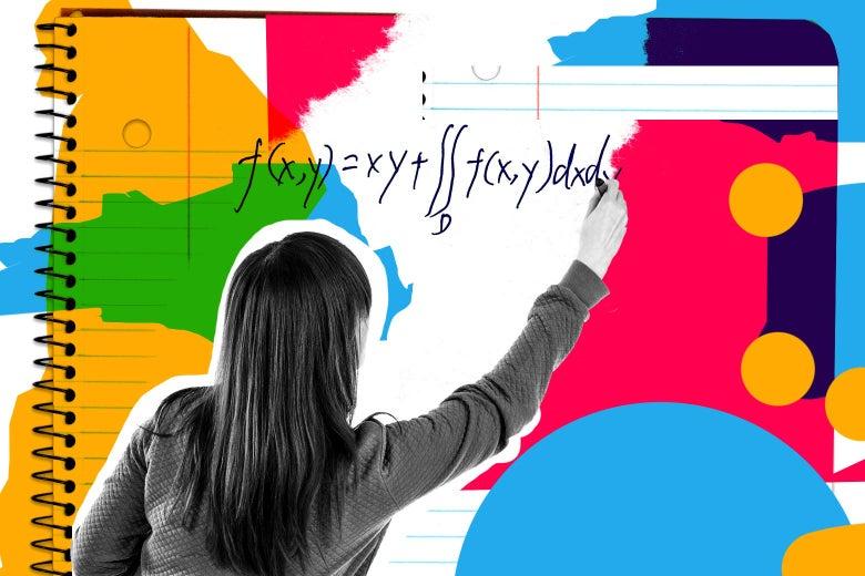 A teacher writes math for a student.