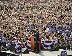 Barack Obama at the American Legion Mall in Indianapolis, Indiana. Click image to expand.