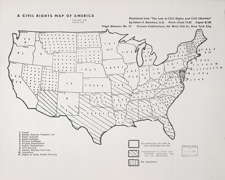 History Of Civil Rights 1949 Map Showing Laws By State - Show-us-map-with-states