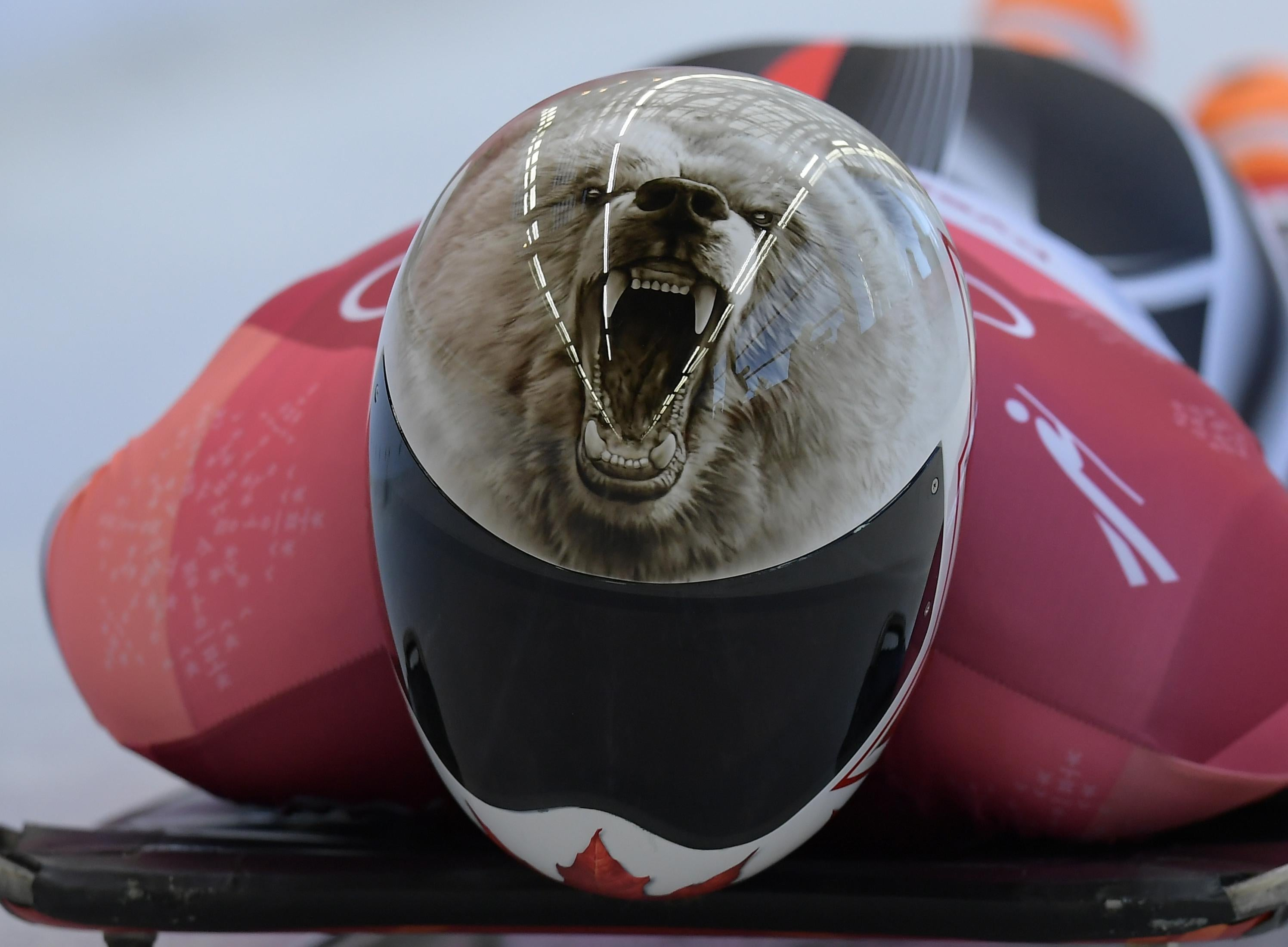 Canada's Barrett Martineau competes in the mens's skeleton heat 1 during the Pyeongchang 2018 Winter Olympic Games, at the Olympic Sliding Centre on February 15, 2018 in Pyeongchang.  / AFP PHOTO / MOHD RASFAN        (Photo credit should read MOHD RASFAN/AFP/Getty Images)