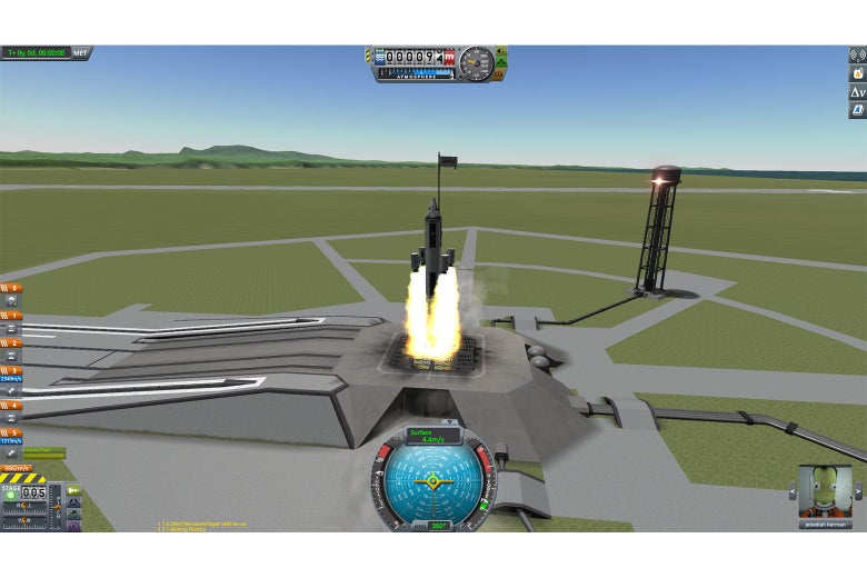 The four rocket boosters decouple from the ship and shoot off toward space right at the launchpad in an unintentional malfunction. In the pilot view window, Jebediah Kerman looks positively distressed.
