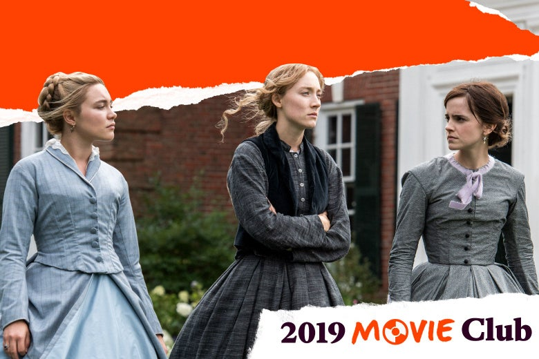 "Florence Pugh, Saoirse Ronan, and Emma Watson walk outside in period clothing in an image from the movie. Text in the corner says, ""2019 Movie Club."""