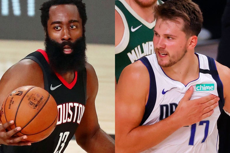 James Harden with the ball and Luka Doncic pounding his chest.