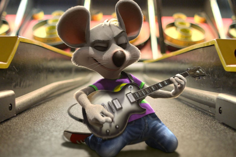 A gray cartoon mouse sits on a skee ball court on his knees, playing a guitar.