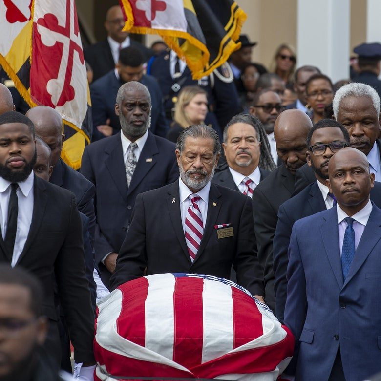 The casket of Rep. Elijah Cummings (D-MD) is taken out of New Psalmist Baptist Church following his funeral service.