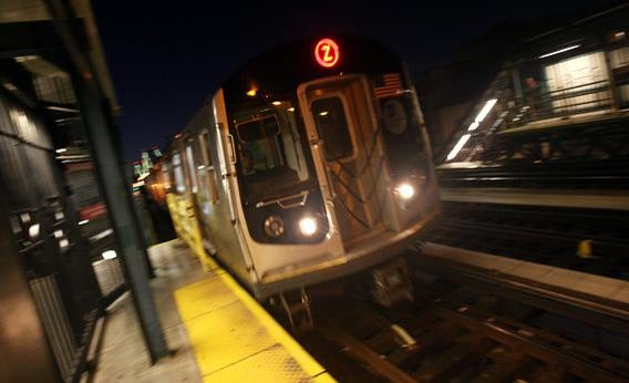 One of the Z subway trains passes by along the tracks in the Brooklyn borough of New York City.