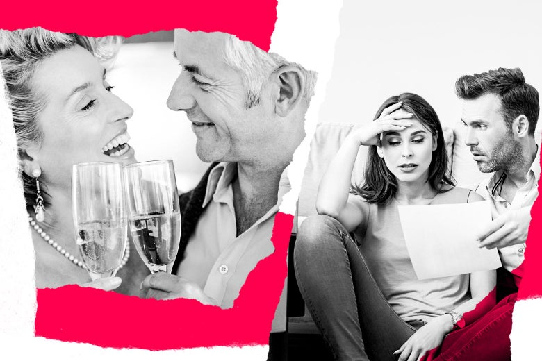 Photo illustration of an older rich couple drinking champagne and a worried-looking younger couple.