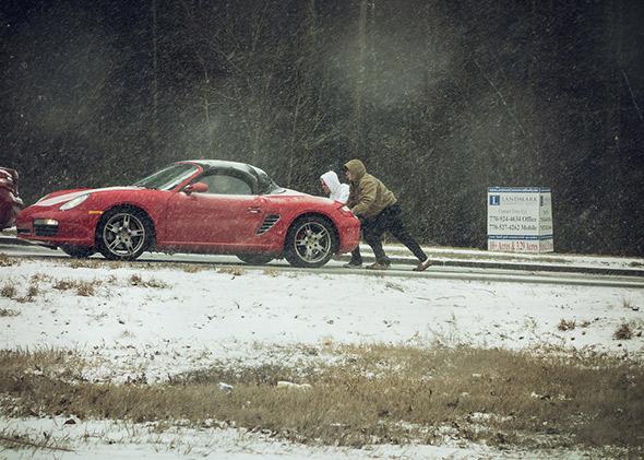 Snow in Atlanta roads, Jan. 28, 2014.