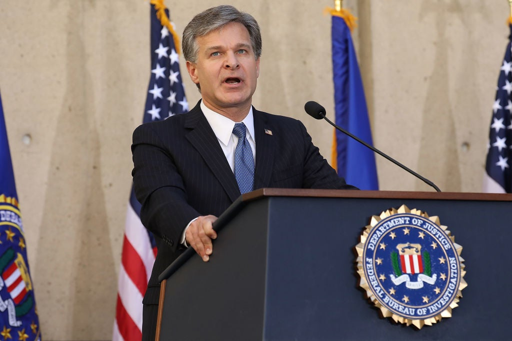 FBI director Christopher Wray at FBI headquarters in Washington, D.C. on Sept. 28, 2017.