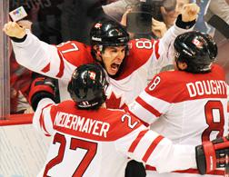 Canada's winning hockey team. Click image to expand.