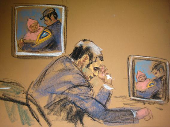 "Former New York City police officer Gilberto Valle, dubbed by local media the ""Cannibal Cop,"" cries during his trial in this courtroom sketch in New York, March 7, 2013."
