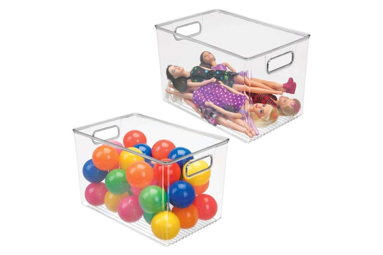 Two clear plastic bins filled with toys