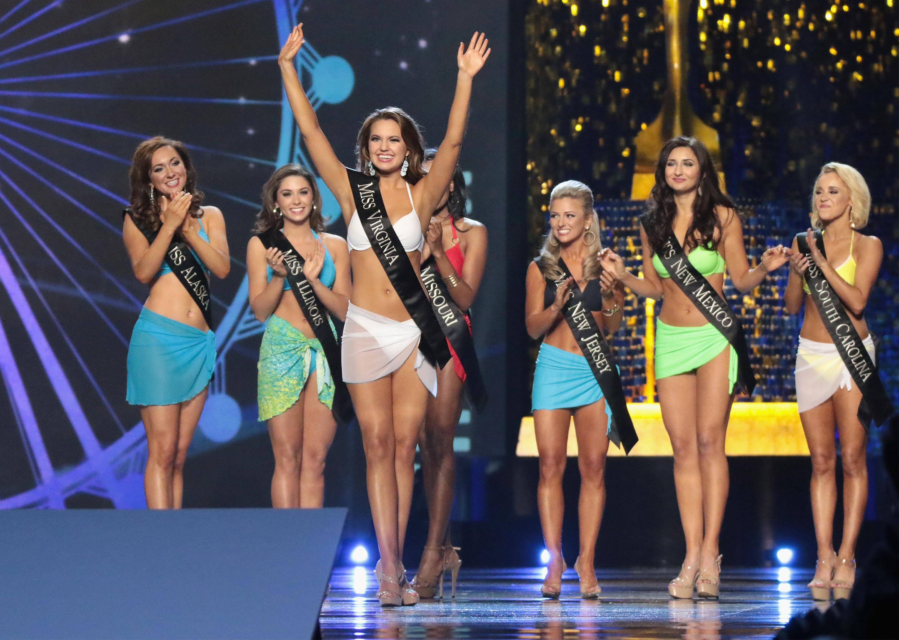 Miss America contestants participate in the 2017 swimsuit competition.