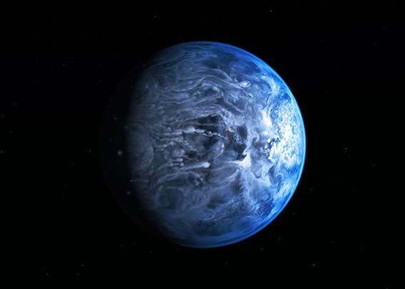 Artist's impression of the deep blue planet HD 189733b