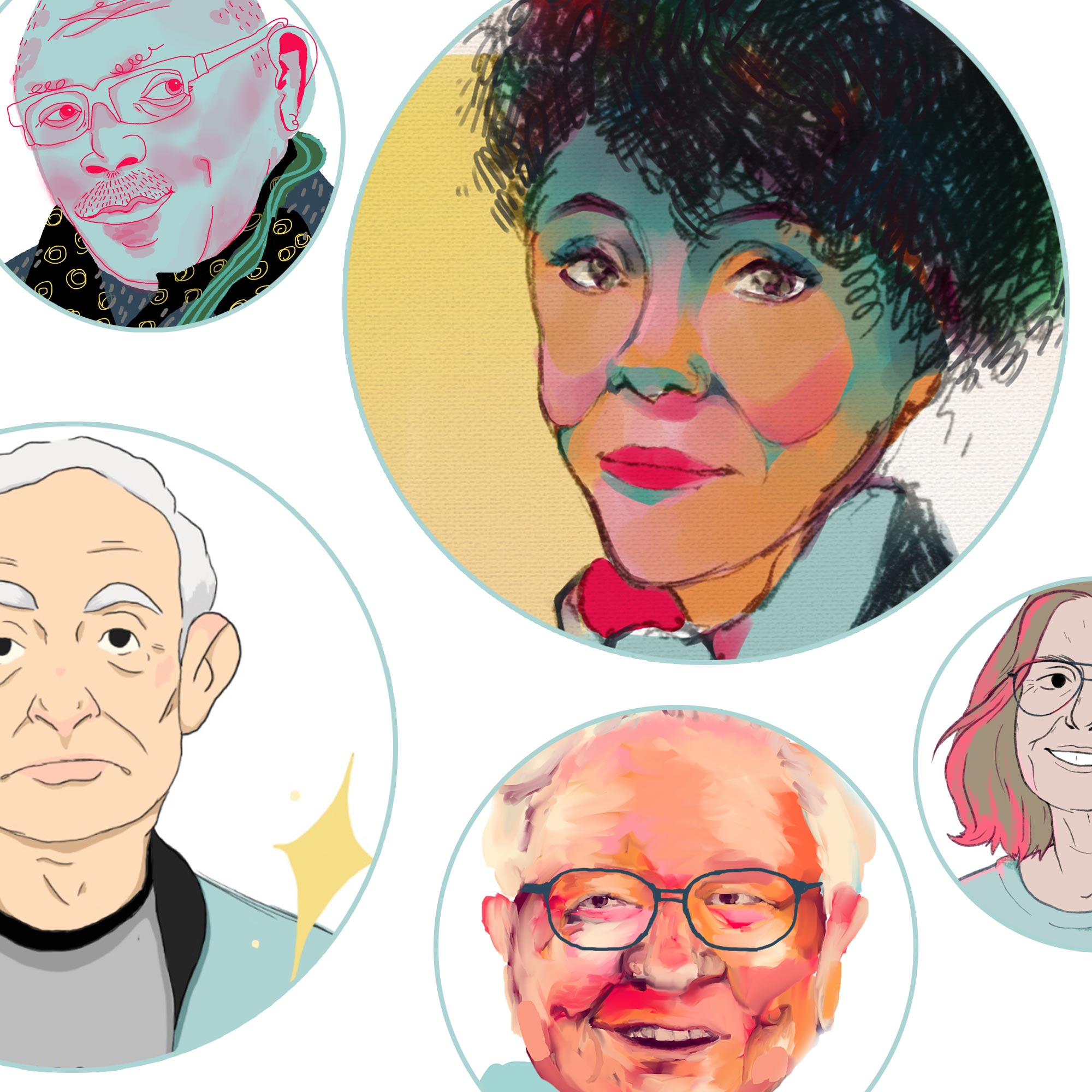 Illustrations of some of the people from the list.