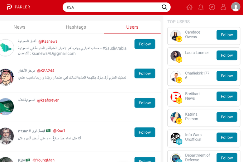 A screenshot of the Parler social media network shows accounts in Arabic script